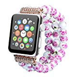 Juzzhou Watch Bands For Apple iWatch Series 1/2/3 Sport Edition Replacement Bead Pottery and Porcelain Elastic Stretch Watchband Bracelet Wrist Strap Band Wristband Wriststrap For Woman Girl Lady 38mm