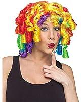 Rainbow Curls Clown Wig, One Size