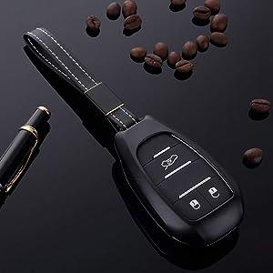 HCZSZH Car Aluminium Alloy Key Holder Cover Case Bag Remote Key Cover Fob Case Shell, for Alfa Romeo Giulia Stelvio