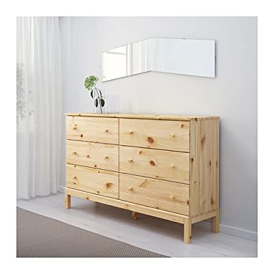 "Ikea 6 Drawer chest, Solid Wood Pine - Width: 61 "" Depth: 15 3/8 "" Height: 36 1/4 "" Made of solid wood, which is a hard and warm natural material. - dressers-bedroom-furniture, bedroom-furniture, bedroom - 517tl02UfGL. SS400  -"
