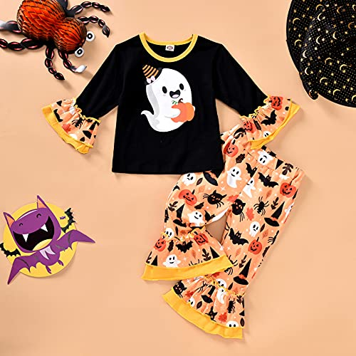 Toddler Baby Girls Halloween Outfit Smiley Pumpkin Top Striped Bell Bottom Pants