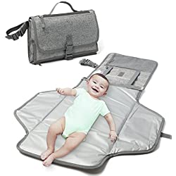 Changing Pad - Baby Changing Mat, Portable Travel Changer Station, Waterproof Diaper Pad, Diaper Pouch, Folding Diaper Clutch, Travel Kit for Baby, Small Detachable Wipeable mats with Pockets (Grey)