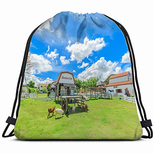 Pattaya Thailand December 23 2016 Swiss Buildings Landmarks Sheep Parks Outdoor Drawstring Backpack Bag Sackpack Gym Sack Sport Beach Daypack For Girls Men & Women Teen Dance Bag Cycling Hiking Team T (Best Shopping In Pattaya)