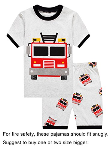 Barara King Little Boys Snug-Fit Pajama Fire Truck 100% Cotton Grey Pjs Clothes Infant Kid 3T Fit Truck