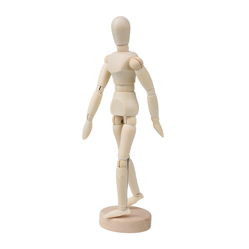 Bqlzr Artist Drawing Manikin Articulated manichino con base in legno e flessibile Body, Beige, 5,5'' 5'' N11836