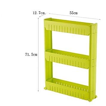 CFstc Trolleys de Almacenamiento de Cocina Slide out Tower de Almacenamiento Estante Desmontable movible con Ruedas 3 Tier para Cocina Cuarto de baño Sala ...