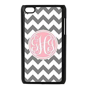 Pink Circle Monogram Personalized Grey and White Chevron Pattern with Cursive Initials luxury For Case Iphone 5/5S CoverALL MY DREAMS