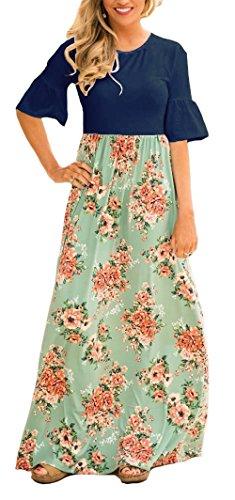 Cuff Flutter (BOCOTUBE Women's Floral Print Flutter Short Sleeve Long Maxi Dress with Pockets)