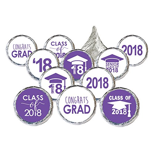 Class of 2018 Graduation Party Favor Stickers, Set of 324 (Purple Seal)