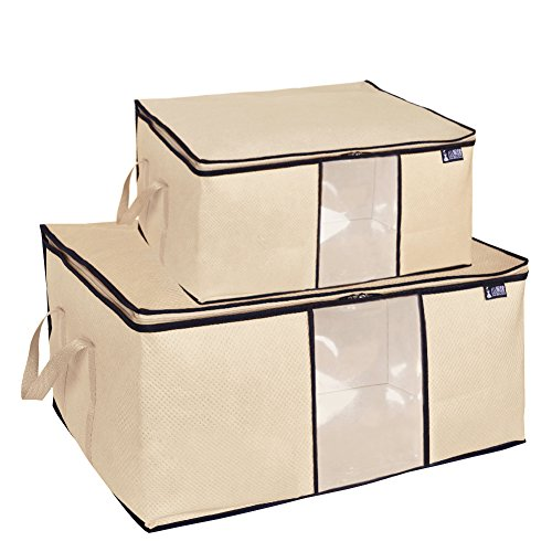 - MISSLO Pack 2 Folding Breathable Jumbo Storage Bag for Comforters, Blanket, Clothes Closet Organizer (Beige)