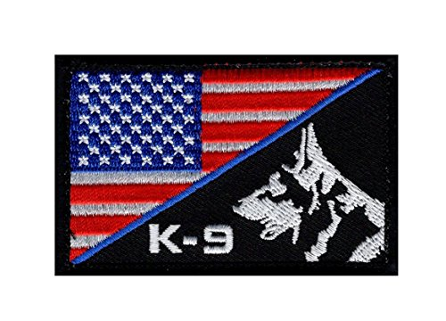 K-9 USA American Flag Thin Blue Line Police SWAT Morale Hook Fastener Patch (PK-1A)