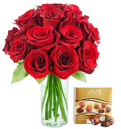 KaBloom Romantic Red Rose Bouquet: 12 Fresh Cut Red Roses (Long Stemmed)