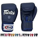 Fairtex Gloves Muay Thai Boxing Sparring BGV1 Size 8, 10, 12, 14, 16 oz in Black, Blue, Red, White, Pink, Classic Brown, Emerald Green, Thai Pride, US, Nation and more (Blue,14 oz)
