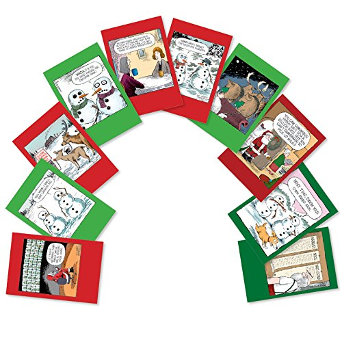 - A Coverly Christmas - 10 Assorted Merry Christmas Greeting Cards with Envelopes (4.63 x 6.75 Inch) - Funny Xmas Cartoons, Snowman, Reindeer Notecards - Holiday Comic Greetings A5554XXG-B1x10