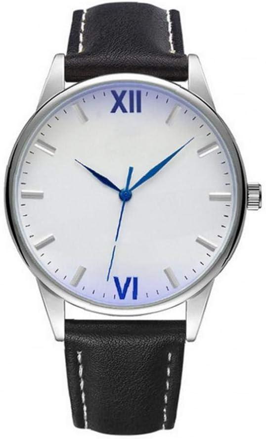 jieerrui Los Hombres De Negocios Estilo Simple Reloj Analógico De Cuarzo Impermeable Reloj con Cuero Brazalete Romano Dial Reloj Blanco/Negro