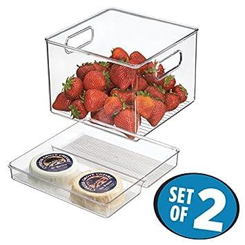 mDesign Especiero transparente con 3 compartimentos - Estante para especias y salsas - Set x 4