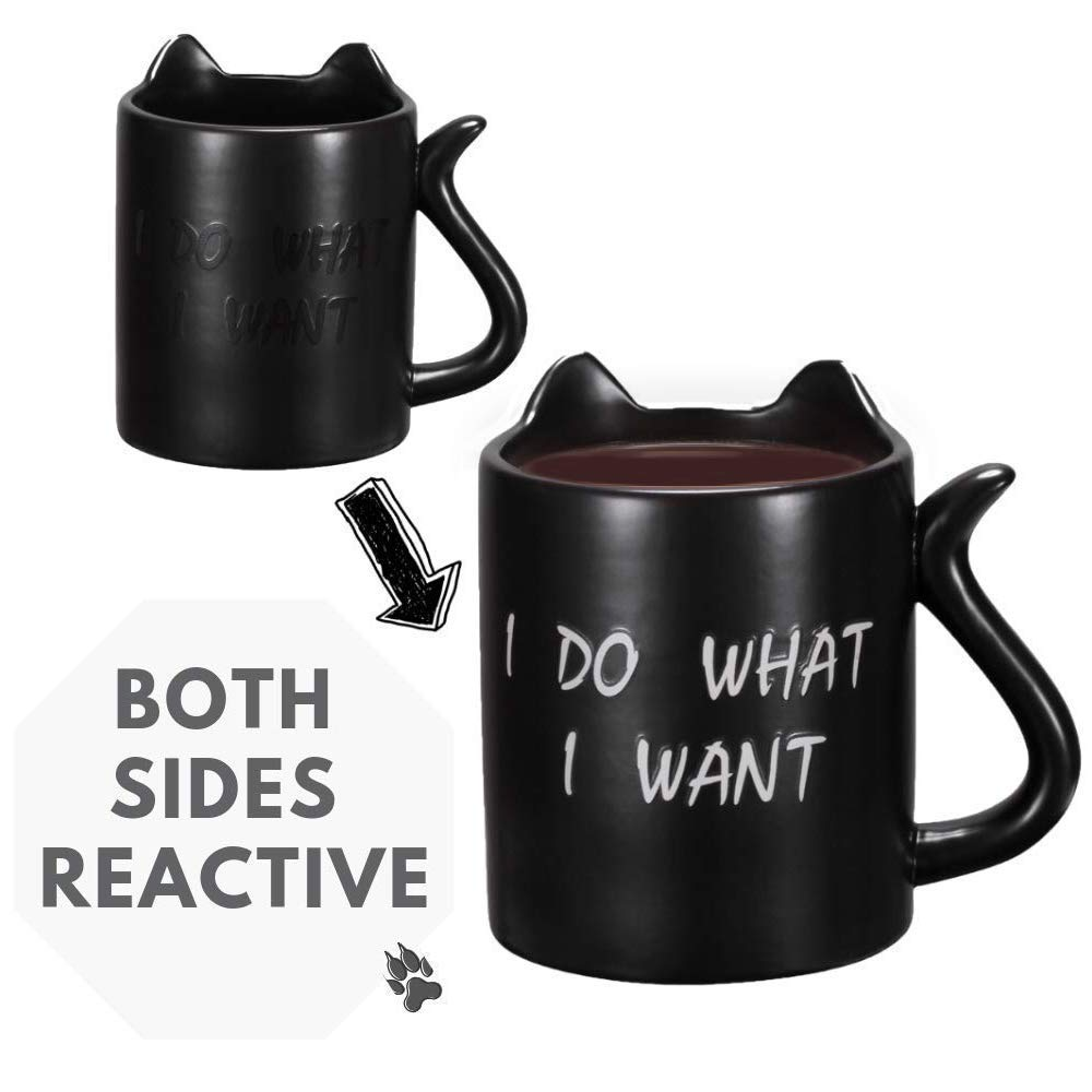 Cat mug, Funny Mug with quotes ''I do what I want'', heat sensitive coffee mug, middle finger color changing cup, Cat tail handle, Perfect gift option, Onebttl-NEKO by Onebttl (Image #2)