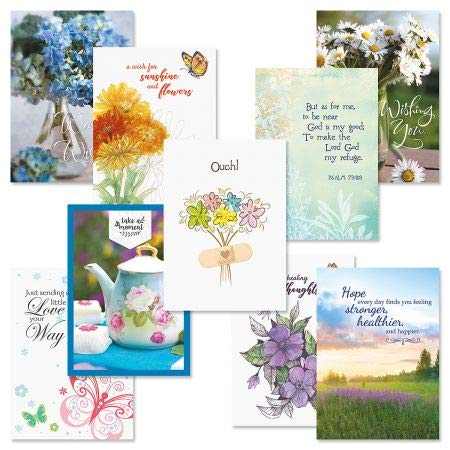 Get Well Greeting Card Value Pack - Set of 18 (9 Designs), Large 5 x 7 inches, Envelopes Included, by Current (Get Card)