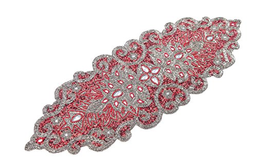 Hand Made Beaded Table Runner 13x36 Inch in Maroon/ Antiq silver Combo colors ,produced by skilled village Artisans in India - A Beautiful Complements to Dinner Table Decor Offered by Linen Clubs