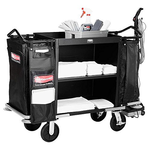 TableTop king FG9T6300BLA Deluxe High Capacity Housekeeping Cart