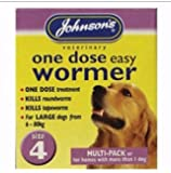 JOHNSONS EASY DOSE WORMER SIZE 4 (X-LARGE DOGS & MULTI-DOG HOUSEHOLDS) 8 TABLETS PER PACK – 1, 3 OR 6 PACKS (1 PACK)