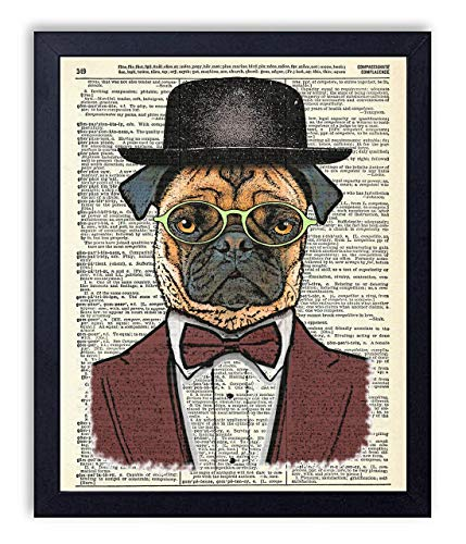 (Pugsly Dapper Pug Dog Art Vintage Wall Art Upcycled Dictionary Art Print Poster 8x10 inches, Unframed)