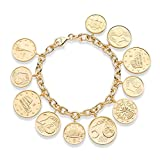 MiaBella Italian Made Genuine Euro Coin Charm Bracelet in 18Kt Gold over Sterling Silver. 7.5''