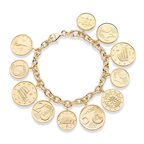 MiaBella 18K Gold Over Sterling Silver Genuine Euro Coin Charm Bracelet for Women, 7.5
