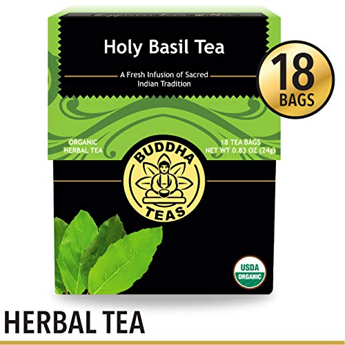 (Organic Holy Basil Tea, 18 Bleach-Free Tea Bags - Caffeine- Free Tea, Supports Physical and Mental Stress Reduction, Encourages Gastrointestinal Peace, No GMOs)