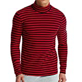 Wintialy Men's Autumn Winter Striped Turtleneck Long Sleeve T-Shirt Top Blouse Red