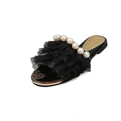 d1b4b19479aeb9 Btrada Women Lace   Pearl Slide Sandals Summer Non-Slip Flats Slippers  Casual Open Toe