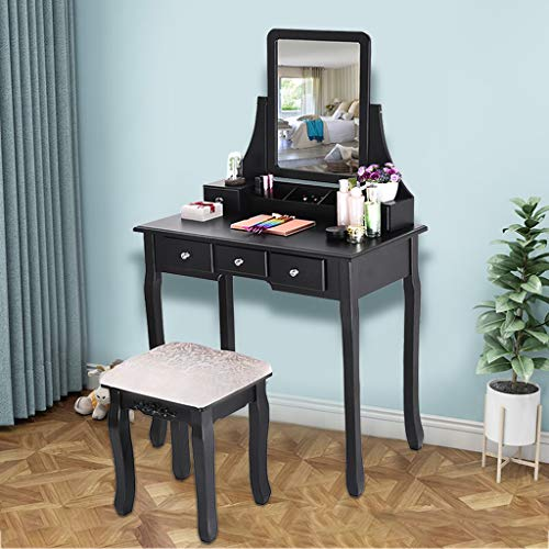 Maikouhai Vanity Table Cosmetics Beauty Dressing Makeup Table 1 Mirror and 5 Organization Drawers 3 Dividers Compartments Set with 1 Wooden Cushioned Stool, 31.5