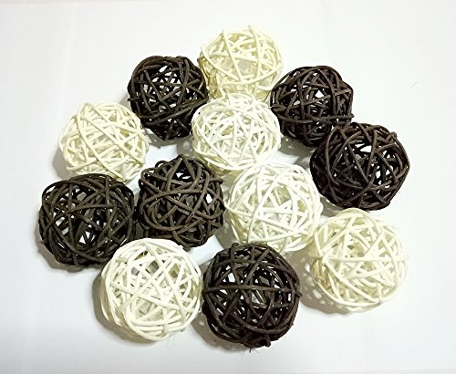 Conserve's Rattan Ball Thailand's Gifts : Natural Small Wicker Balls Two Tone Color Black White DIY Vase Bowl Filler Ornament, Decorative Spheres Balls Perfect Decoration Party 2-2.5 inch 12 Pcs. (Diy Rattan Lights Ball)