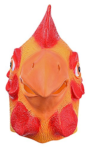Wholesale Masquerade Masks On A Stick (Maze Funny Orange & Red Stylized Cartoon Chicken Head Full Face Latex Mask, 1- One Size)