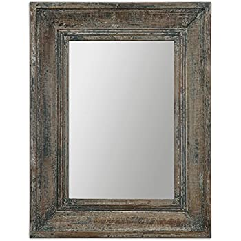 Aged teal blue green wall mirror wood for Teal framed mirror