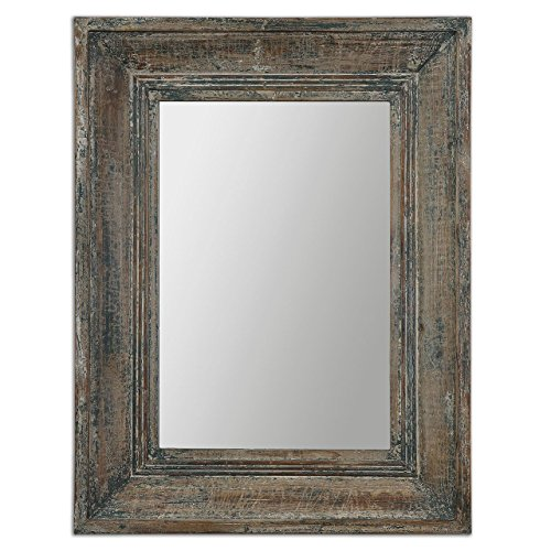 Aged Teal Blue Green Wall Mirror | Wood Cottage Vanity Distressed (Rustic Dresser Green)