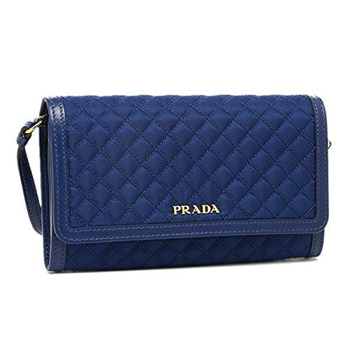 Prada Quilted Nylon & Soft Calf Leather Crossbody Shoulder Wallet Bag 1M1437, Royal Blue (Prada Soft Handbag)