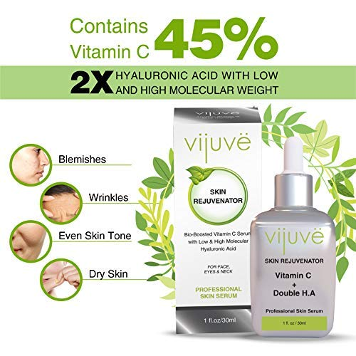 517toVYQX%2BL - VIJUVE 45% Vitamin C Serum with Double Hyaluronic Acid and Collagen Peptides for Face, Eyes, Neck and Chest - Bio-Boosted Anti Aging Skin Care for Dark Spots, Wrinkles, Tightening and Even Tone, 1oz.