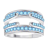 DreamJewels .925 Sterling Silver Combination Curved Style Cathedral Wedding Ring Guard Enhancer with CZ Aquamarine (1.10 ct. tw.)