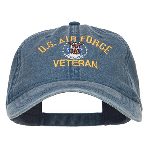 - e4Hats.com US Air Force Veteran Military Embroidered Washed Cap - Navy OSFM