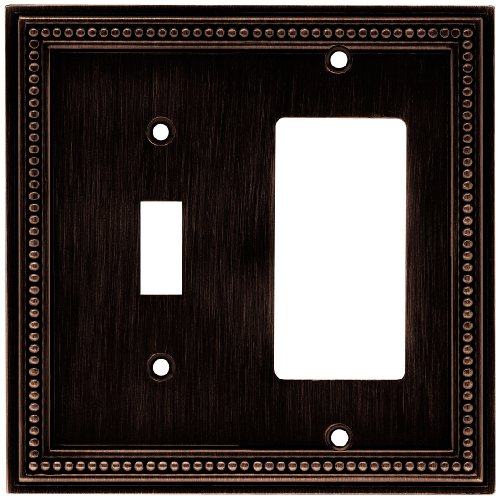 Brainerd 64407 Beaded Single Toggle Switch/Decorator Wall Plate / Switch Plate / Cover, Venetian Bronze ()