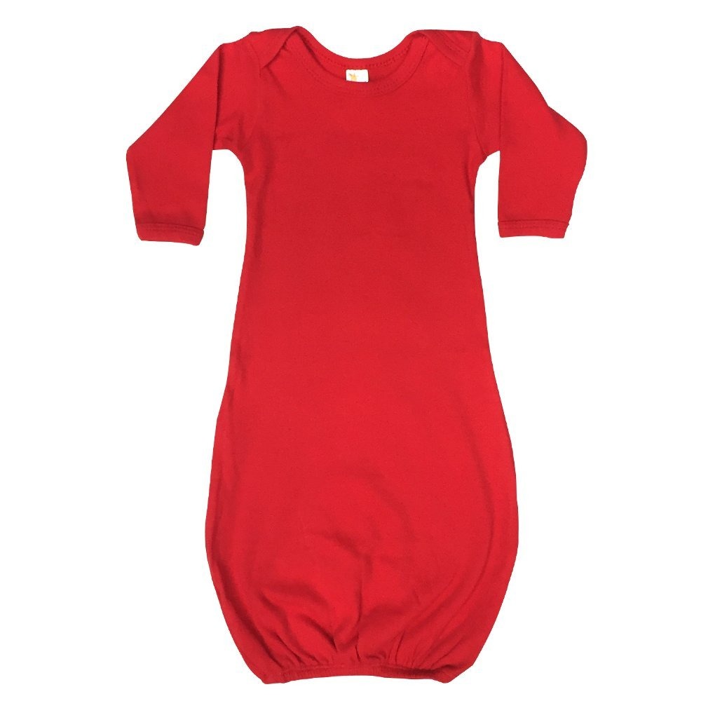 Laughing Giraffe Unisex Long Sleeve Baby Gown (3-6M, Red) LG2800B Red 3-6m