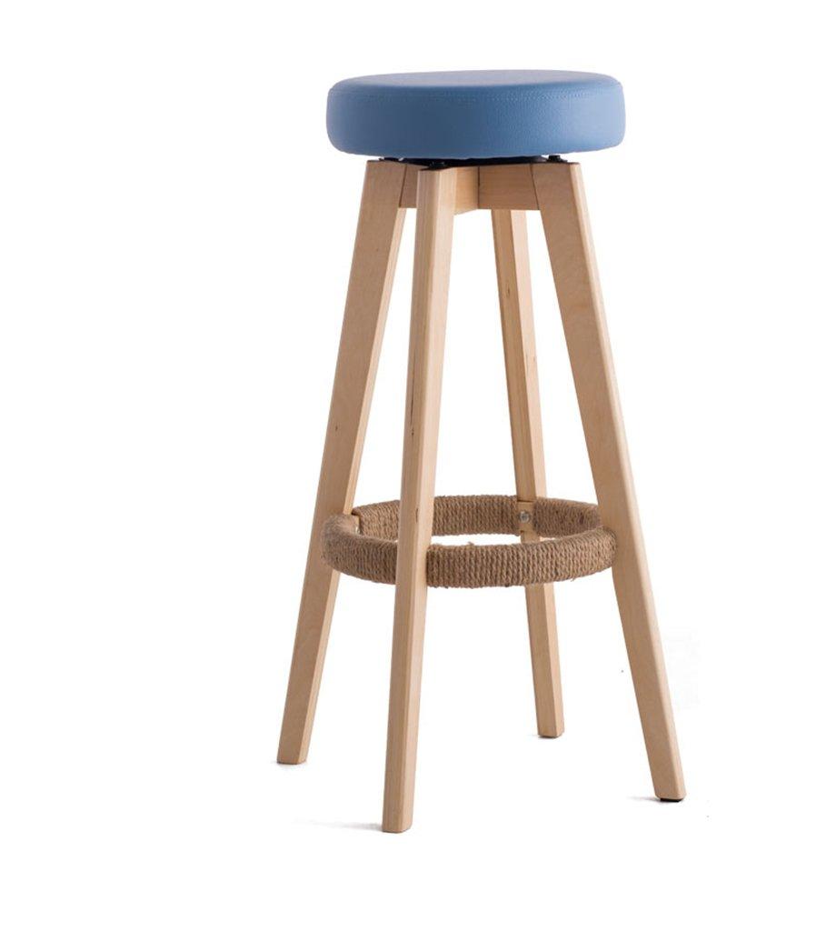 椅子、ソリッドウッドバーチェアバーチェアハイスツールホームソリッドウッドバースツールモダンシンプル回転ヨーロッパスタイルロング45cm×幅45cm×高さ65.5cm ( 色 : 青 , サイズ さいず : HIGH65.5cm ) B076HF6GXG