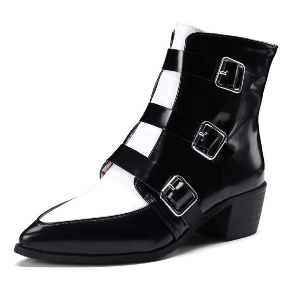 CITW EUR37 Herbstliche Damenstiefel Gürtelschnallen Lederstiefel Großformat Damenschuhe Mit Farb-Mode-Stiefeln,schwarz,UK3 EUR37 CITW 2f06ef