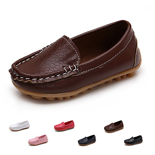 SOFMUO Boys Girls Leather Loafers Slip-On Oxford Flats Boat Dress Schooling Daily Walking Shoes(Toddler/Little Kids) Brown,24]()