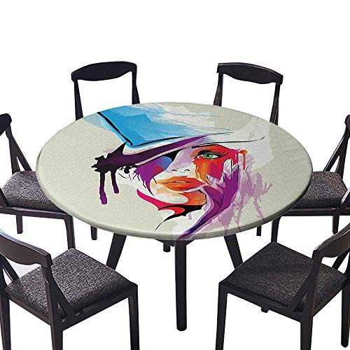 Modern Simple Round Tablecloth Digital Abstract Woman Face Figure with Splash Paint Drops Modern Artsy Picture for Kitchen 47.5