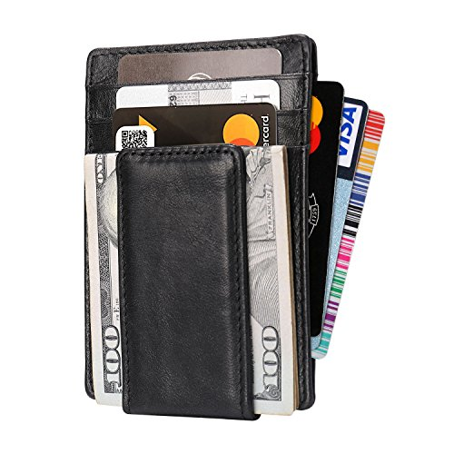 Mens Minimalist Wallet Leather with Money Clip TOOVREN RFID Blocking Protection Card Holder/Front Pocket ()
