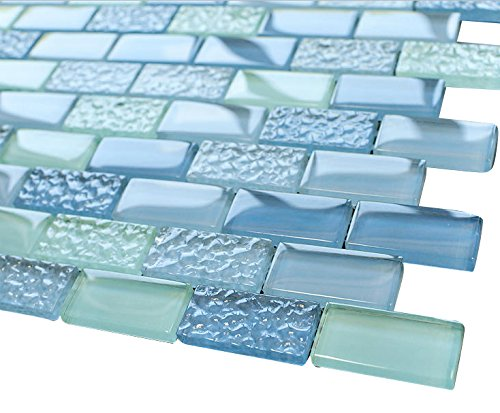 Pool Wave Blue Crystal Subway Glass Mosaic Tile for Bathroom and Kitchen Walls Kitchen Backsplashes by Vogue Tile