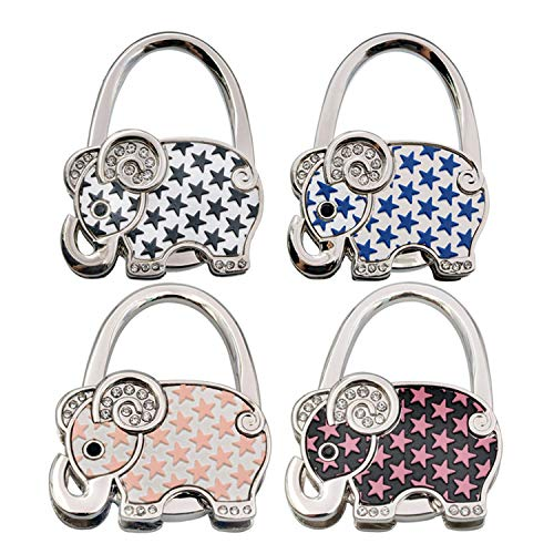 Price comparison product image GuaziV 4pc Various Design Pattern Shoulder Handbag Folding Purse Hangers Hook Set (Elephant)