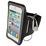 iGadgitz Black Reflective Anti-Slip Neoprene Sports Gym Jogging Armband for Apple iPhone SE, 5S, 5, 5C